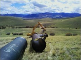 Big Hole Transmission Line - 36 inch ductile iron pipe ready to be installed